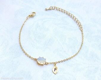 Opal bracelet, personalized bracelet initial gold, white opal stone bracelet, dainty bracelet gold chain delicate bracelet modern adjustable