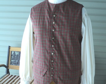 """Men's colonial/18th century Traditional Homespun Plaid hip length vest with """"brass"""" buttons and side flanges-MADE-TO-ORDER"""