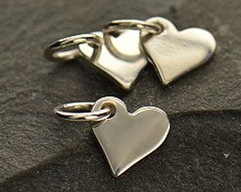 Tiny Sterling Silver Heart Dangle, 10x6mm