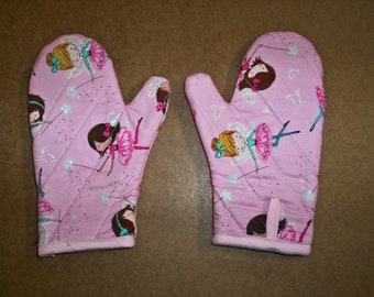 Child oven mitts pair-Pink Fairies