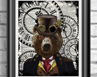 Steampunk Art Print, Steampunk Bear Art Book Page Wall Art Wall Decor Poster, Dandy top hat Bear Poster Dictionary