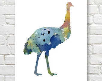 Blue Emu Art Print - Abstract Watercolor Painting - Wall Decor