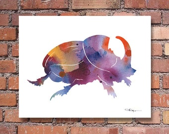 Dung Beetle Art Print - Abstract Watercolor Painting - Wall Decor