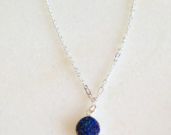 Blue Druzy Beaded Charm Necklace, Blue Druzy Charm Necklace, Blue Necklace,  Blue Charm Necklace