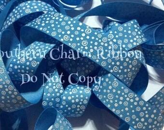 Copen Blue Grosgrain Ribbon, white glitter swirl print ribbon, 7/8 in by the yard, gift wrap ribbon, party dot swirl ribbon, glitter ribbon
