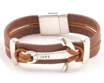 men nautical bracelet, hope bracelet, men women anchor bracelet, inspirational bracelet, nautical jewelry, leather bracelet, sailor gift