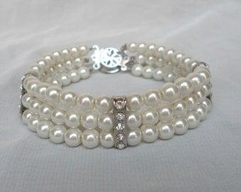 Ivory Pearl Bracelet,pearl And Rhinestone Bracelet,6mm pearl Bracelet,Wedding Jewelry,Pearl Jewelry,Bridesmaid Bracelet,3 Strandsl Bracelet,