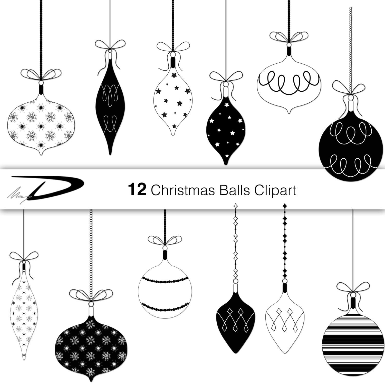 12 christmas balls clip art black and white christmas