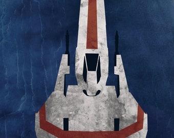 Battlestar Galactica Viper - pop art inspired print / poster