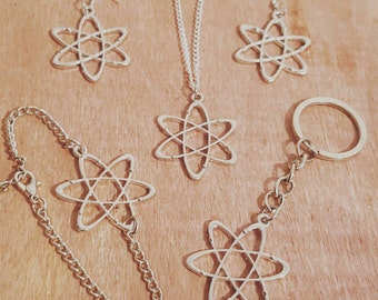 Atom Jewelry Collar Cardigan Brooch Pin Necklace Earrings Keychain Bracelet Anklet Keyring Magnet Bookmark Science Chemistry Big Bang Theory