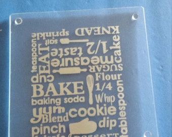 Kitchen Word Collage Subway Art Square Glass Cutting Board