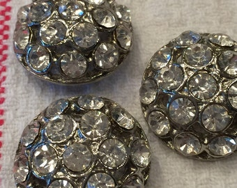 """Vintage Rhinestone Button; 1"""""""