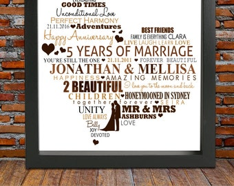 5 year anniversary gift - 5th wedding anniversary, 5th wedding anniversary gift, wood wedding anniversary, anniversary print