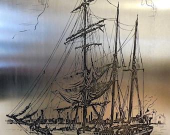 Vintage 1940's Sailing Ship Boat Etched in Metal Framed Art
