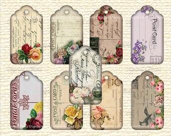 Vintage Floral Shabby Chic Tags, 9 Printable Digital Epeherma Gift Tags, Vintage Postcard Tags, Printable Ephemera, Cottage Chic Retro Tags