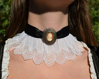 Lace Choker with Cameo Pendant Steampunk/Victorian Style