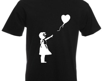 Mens T-Shirt with Banksy Girl with Heart Balloon / Lonely Girl on Shirts / Romantic Love Tee Shirt + Free Random Decal Gift