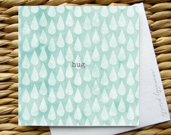 hug empathy card. Sympathy card. i am here for you card. BFF Card. Friendship card. raindrops tears water color card. Blank Greeting Card