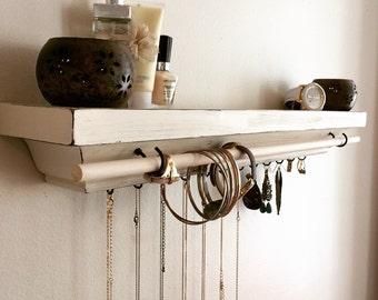 Jewelry storage shelf, jewelry organizer, floating shelf
