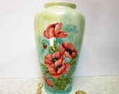 Large Hand Painted Porcelain Vase Handmade Poppy Vase by B. Marsh