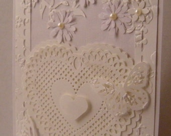 Beaded Hearts and beads 5x7 vertical handcrafted card
