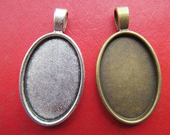20mmx30mm Oval Pendant Tray, Bezel Setting,20mmx30mm  Cabochon Tray - Antique Bronze,Antique Silver
