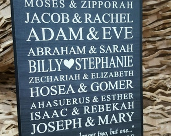 Wedding Plaque Couples from the Bible