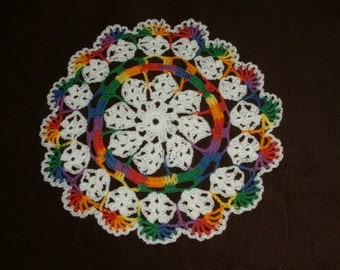New Hand Crocheted Doily - white and mexicana multicolor