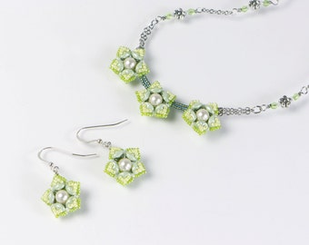 Yellow green flower necklace, french wire earrings, screw back clip on earrings flower, decorative chain necklace and earring set, 396-1