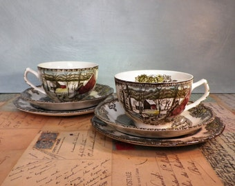 Johnson Bros 'The Friendly Village'  Trios  1950's Vintage China Pottery Tableware Collectable Kitsch Tea Cups Saucers