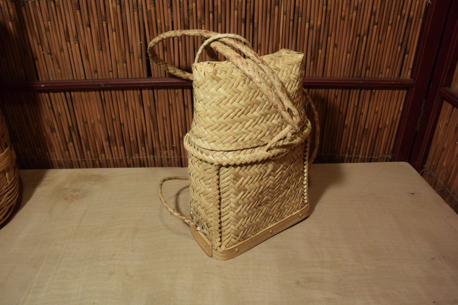 Wicker Basket Backpack : Vintage southeast asian bamboo rattan backpack basket with