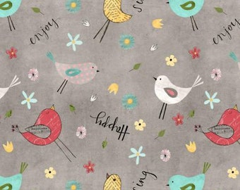 On The Road Again Camping, Gray Birds and Flowers cotton fabric