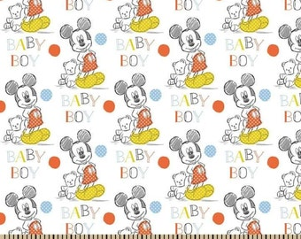 Mickey Mouse Baby boy oh boy Cotton Fabric