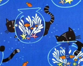 Kitty in the Fishbowl on Blue Cotton Fabric