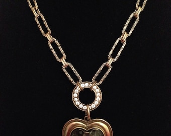 Bronze and Gray Heart Necklace