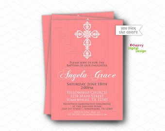 Beautiful Cross Baptism Invitations | Printed or Printable Communion Invitation | Pink Gray White Religious Invite | Dedication | Blessing
