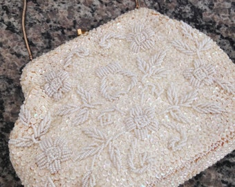 White Beaded Purse with Floral Pattern