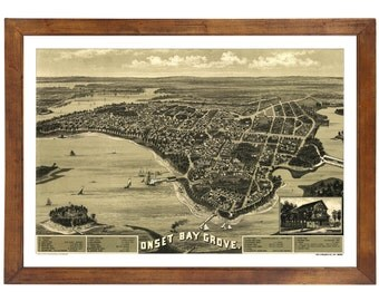 Onset Bay Grove, MA 1885 Bird's Eye View; 24x36 Print from a Vintage Lithograph