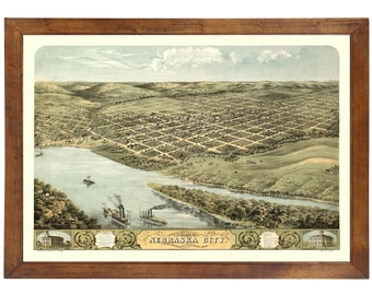 Nebraska City, NE 1868 Bird's Eye View; 24x36 Print from a Vintage Lithograph