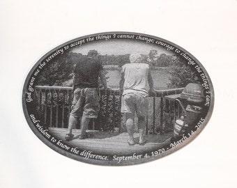 5 x 7  Black Granite Headstone Photo Plaque