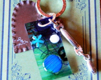 Tin Heart Necklace with Blue and White