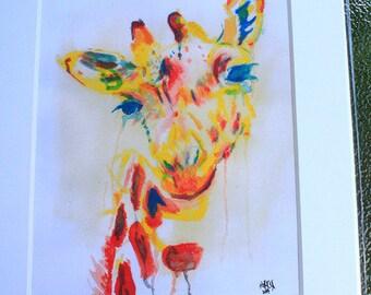 watercolor giraffe matted print