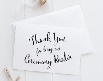 Ceremony Reader wedding day thank you card, bridal party cards, wedding note cards, on our wedding day, ceremony reader card