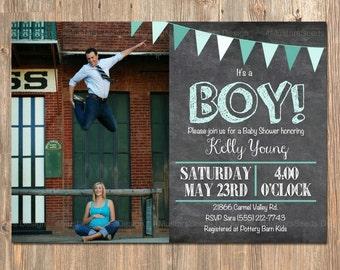 It's a Boy Baby Shower Invitation. Chalkboard Baby Shower Photo Card. Pennant Baby Shower Invite. Picture Baby Shower Card. Boy Invitations