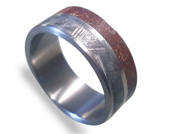 Meteorite Ring, Titanium Ring with Gibeon Meteorite and Dinosaur Fossil Inlays, Mens Ring, Womens Ring, Mens Band