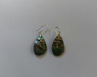 Handmade Solid 925 Sterling Silver and paua shell earring.