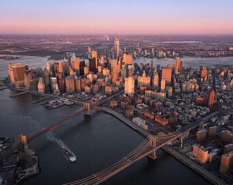 Downtown Aerial, Brooklyn Bridge, Manhattan Bridge, New York City, Aerial View, Financial District - Travel Photography, Print, Wall Art