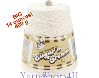 14oz SOFT ECRU, Sugar N Cream Cotton Yarn, Cotton Cone yarn, Off white cotton yarn, Lilly Cotton Yarn, Antique white cotton yarn, Big Cone