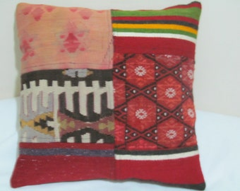 "Turkish patchwork kilim Pillow cover 16""X16"""