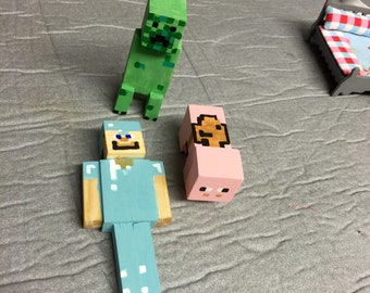 3 Wooden minecraft figures dolls house